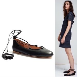 Madewell Idna Matte Black Leather Lace-Up Flats 8